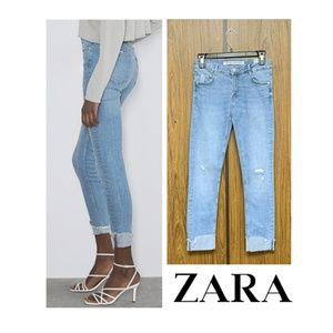 NWT Zara Super Skinny Distressed Cuffed Jeans